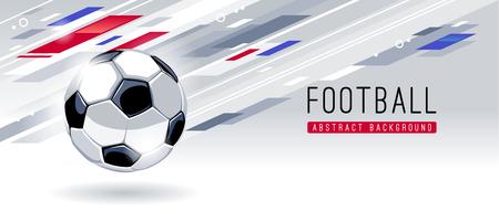 Traditioneller europäischer Fußball auf dynamischem abstraktem Hintergrund mit Kopienraum. Fußball-Banner-Vektor-Vorlage. Vektorgrafik