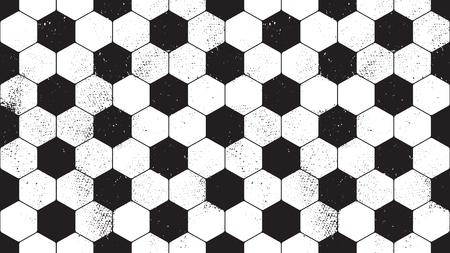 Patrón sin fisuras con la superficie del balón de fútbol sucio grunge. Vector patrón de fútbol sin fin. Ilustración de vector