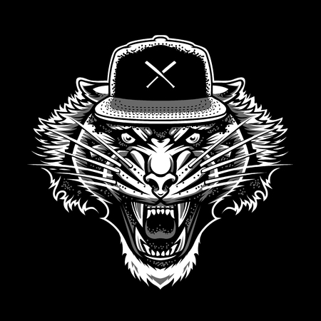 Roaring Tiger in Snapback. White and grey on black dot work tattoo style.. Vector mascot.
