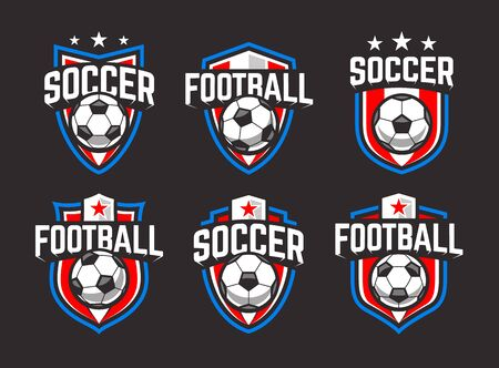 Classic soccer emblems. Blue, red and white colours on black background.  Vector football retro emblems set. Stockfoto - 134537878