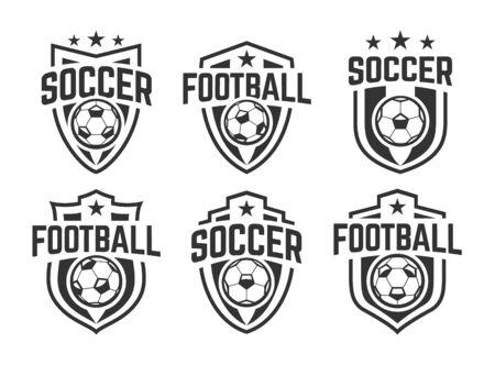 European football classic emblems vector set. Black and white. Stock Illustratie
