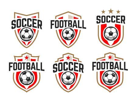 European football classic emblems vector set. Stock Illustratie