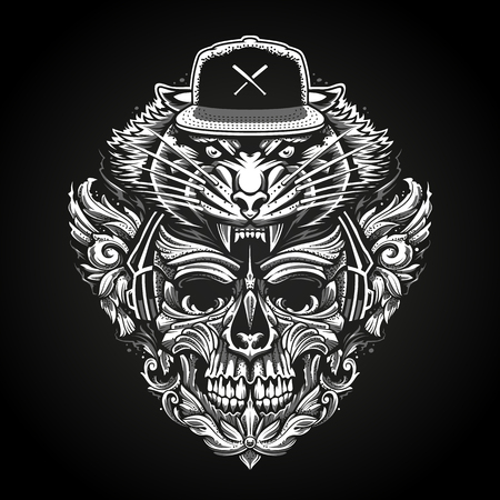 Ornate Skull in Headphones and Tiger Head in Snapback abstract vector illustration.