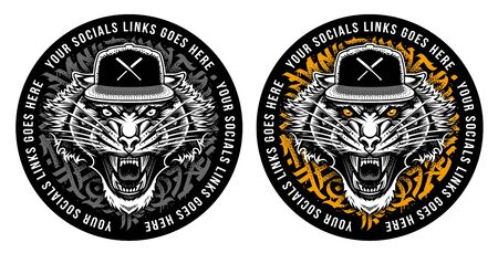 Roaring Tiger in Snapback on graffiti abstract circle backdrop. Sticker design.Two color variations. Vector art. 向量圖像