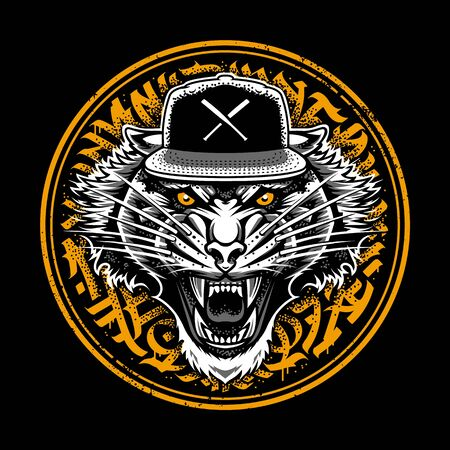 Roaring Tiger in Snapback on graffiti abstract circle backdrop. Sticker design.Two color variations. Vector art.