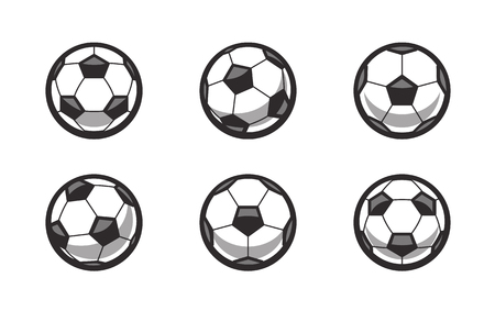 Set of different side soccer ball vector icons isolated on white. Stock Illustratie