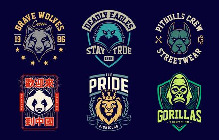 Emblem design templates with different animals mascots. Sport team badges designs. Vector set. Stockfoto - 134537887