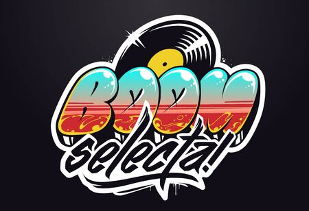 Progettazione del logo musicale. Iscrizione di vettore dei graffiti per il logo musicale.