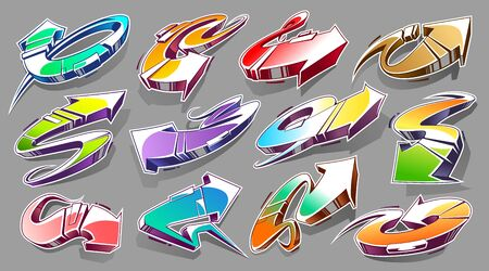 Vector Set of Abstract Graffiti Arrows with vibrant colours. 3D wild style arrows. Street art design elements vector set. Illustration