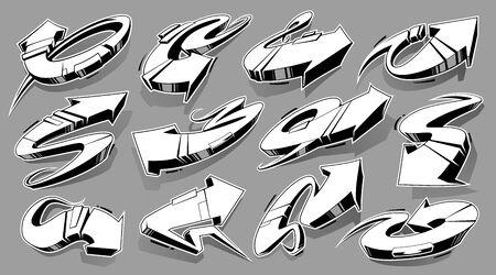 Vector Set of Abstract Graffiti Arrows monochrome. 3D wild style arrows. Street art design elements vector set.