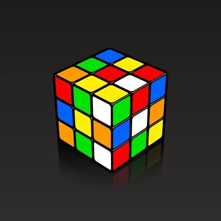 Ilustración 3D de cubo Rubic mixto con poca reflexión sobre fondo negro.