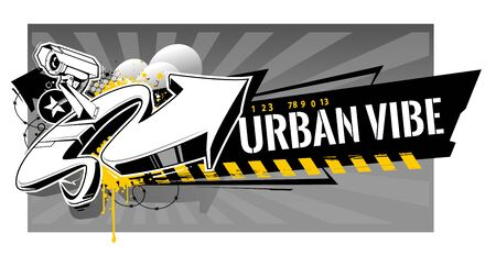 Horizontal banner with abstract graffiti elements: arrows, splashes, barbed wire, paint splashes, stars. Vector art with urbanistic motive.