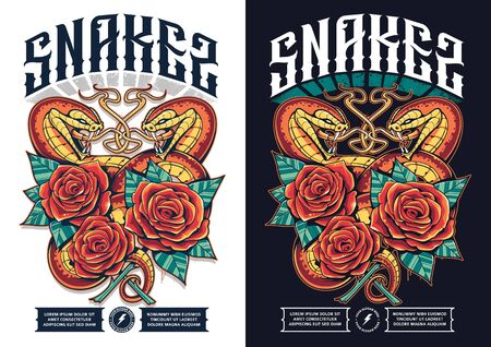 Poster design with snakes and roses. Snakes open mouth wild and wraps the flowers. Classic grunge tattoo style print design. Bright juicy colors. Vector art.