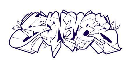 Summer Graffiti Lettering Vector Art. Monochrome 3D letters in wild style. Black and white vector illustration.