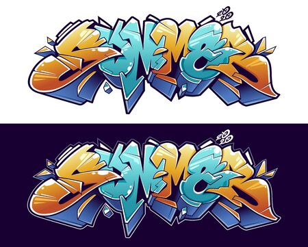 Summer Graffiti Lettering Vector Art. Juicy 3D letters in wild style on white and black background. Vector illustration.