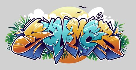 Summer Graffiti Lettering Vector Art. Juicy 3D letters in wild style. Tropical leaves, clouds and sun on background. Vector illustration.
