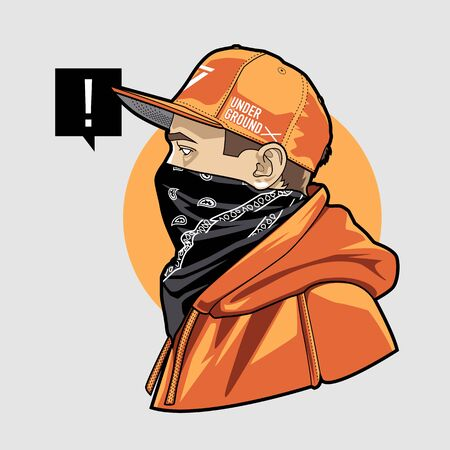 Line art of gangster young man in snapback, face masked with bandana. Weared in hoodie. Vector illustration. Vectores