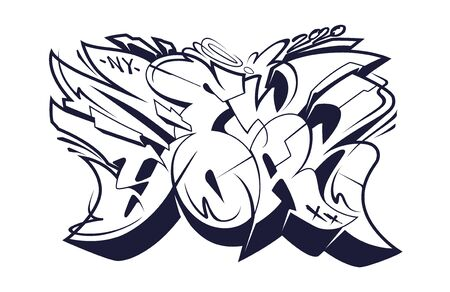 New York Graffiti Wild Style Lettering Vector Illustration. Black and white 3D letters. Vectores