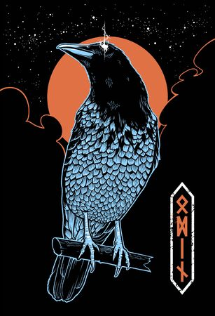 Vector illustration of mystical raven with glowing eye. Mysterious sky with moon, stars and black clouds on the back. Odin rune symbols. Vertical composition poster. Vector art. Vectores