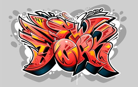 New York Graffiti Wild Style Lettering Vector Illustration. Red color 3D letters. Vectores