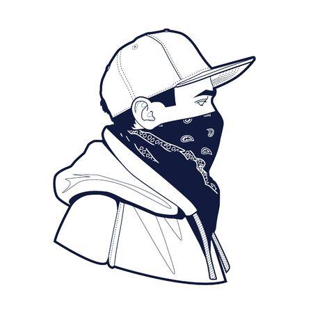 Strichzeichnungen des jungen Mannes des Gangsters in der Hysterese, Gesicht mit Kopftuch maskiert. Im Hoodie getragen. Vektor-Illustration.