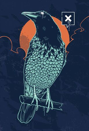 Vector illustration of mystical raven. Mysterious sky with moon. Dirty grunge art. Vertical composition poster. Vectores
