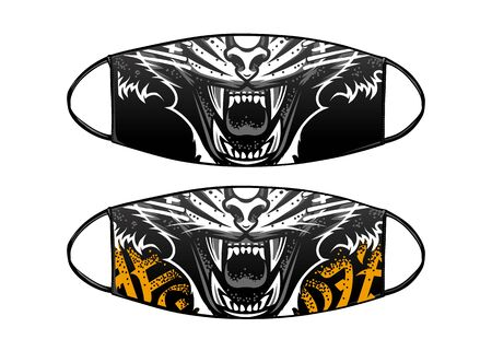 Virus Protection Black Mask Vector Design with tiger jaws.
