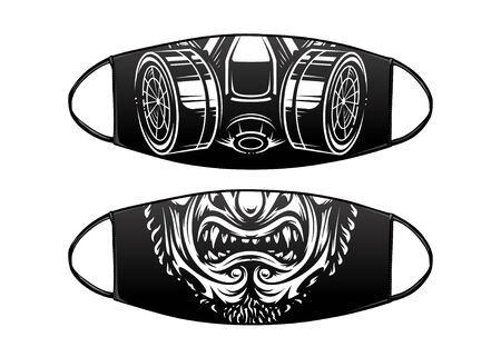 Virus Protection Black Mask Vector Design with respirator and samurai mask.