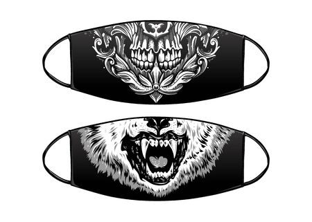 Virus Protection Black Mask Vector Design with skull and wolf.
