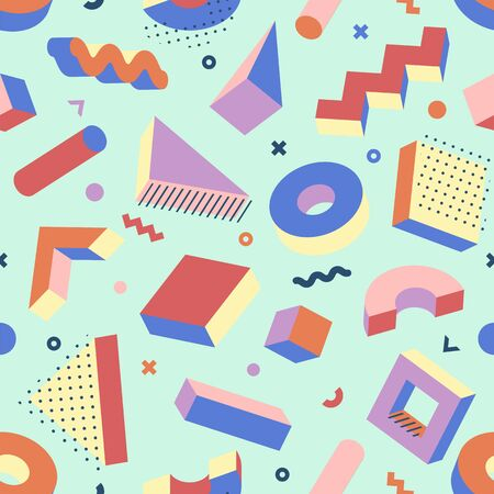 Memphis Style Seamless Pattern. Abstract texture with 3D shapes and halftones. Trendy 80's - 90's design style background. Vector art. Vectores