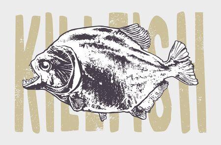 Engraving style piranha fish vector illustration.