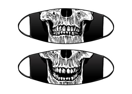 Virus Protection Black Mask Vector Design with skull jaws.