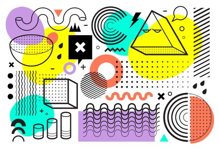 Memphis Style Abstract Vector Art. Halftones, geometrics and flat bright color shapes on white background. 80's-90's design trend. Vector illustration.