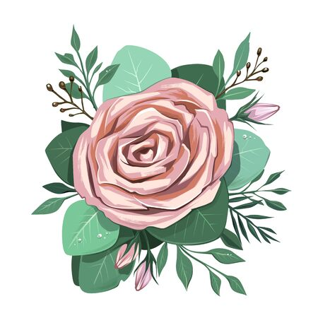 Watercolor style art of flowers bouquet with soft pastel colors isolated on white. Rose with leaves. Vector illustration. Illustration