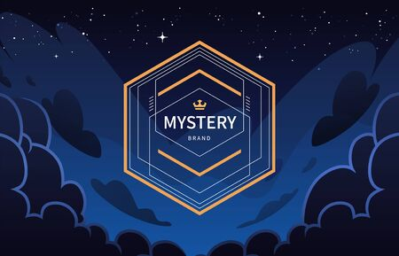 Vintage Geometric Banner on Night Sky Background. Gold and deep blue colors. Vector illustration.