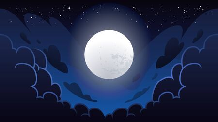 Cloudy night sky with glowing moon. Cartoon style magic night sky. Deep blue colors. Vector illustration.