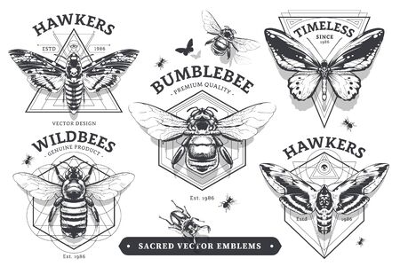 Set of vintage emblems with geometric shapes and insects. Abstract sacred emblems collection. Vector illustrations.