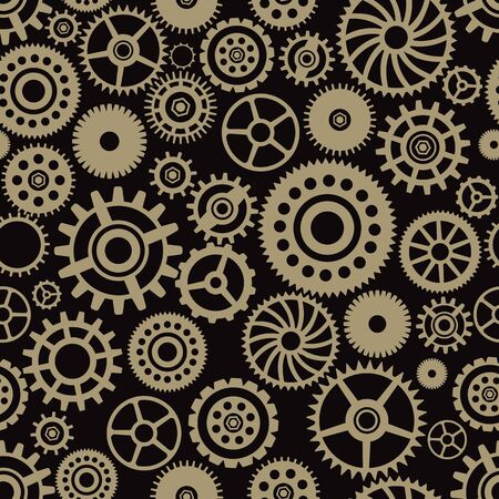 Vector Seamless Pattern with Steampunk Cogwheels and Gears. Vintage endless texture.