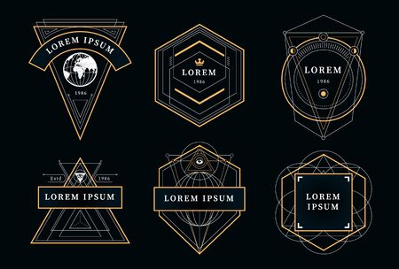 Set of vintage emblems with geometric shapes. Art deco style badges. Abstract sacred emblems collection. Vector illustrations. Vectores