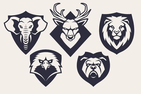 Emblem design templates with different animals mascots. Sport team badges designs. Vector set. Illustration