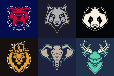 Set of animal mascots with different colors. Vector animal heads with determined expression. Good for logo design, sport emblem, brand mascot, avatar. Vector icon set. Vectores