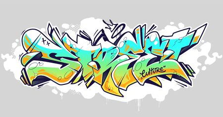 Wild style graffiti lettering Street. Traditional 3D block letters. Vector illustration isolated on white. Vectores