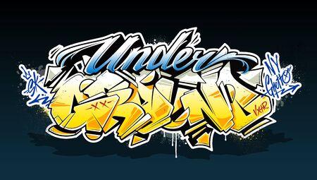 Underground Graffiti Lettering Vector Art. Hand-drawn wild style graffiti letters. Colour version. Vector illustration.