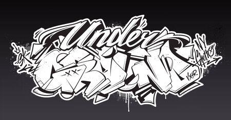 Underground Graffiti Lettering Vector Art. Hand-drawn wild style graffiti letters. Black and white version. Vector illustration.