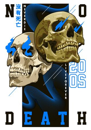 Modern poster design. Mixed art of realistic skulls and simple abstract shapes: waves, lines and typography. Trendy abstract design. Chinese characters: NO DEATH. EPS10 vector graphic. Illustration