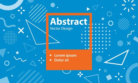 Memphis style design with abstract geometric shapes and banner frame. 80s retro style design template. Eps10 vector illustration.