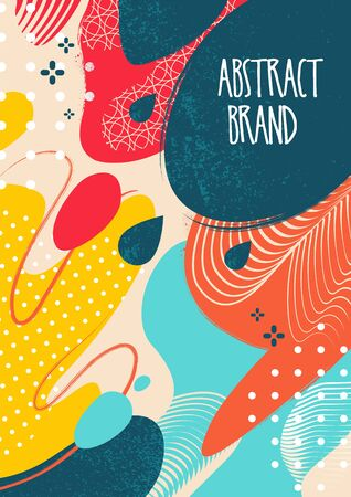 Abstract vector background with juicy colors and liquid shapes. Mix of modern patterns and grunge textures. Fresh summer design for posters, book covers, wallpapers and etc. Vector EPS10 illustration.