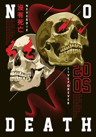 Modern poster design. Mixed art of realistic skulls and simple abstract shapes: waves, lines and typography. Trendy abstract design. Chinese characters: NO DEATH. EPS10 vector graphic. Vectores