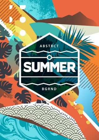 Summer mood abstract background with mixed textures, different patterns and geometric shapes.  Poster design with abstract shapes and copyspace for you text. EPS10 Vector graphic.