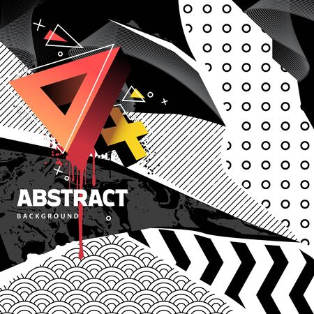 Abstract background with mixed textures, different patterns and geometric shapes  Vector abstract banner with copyspace for you text. EPS10 Vector graphic.